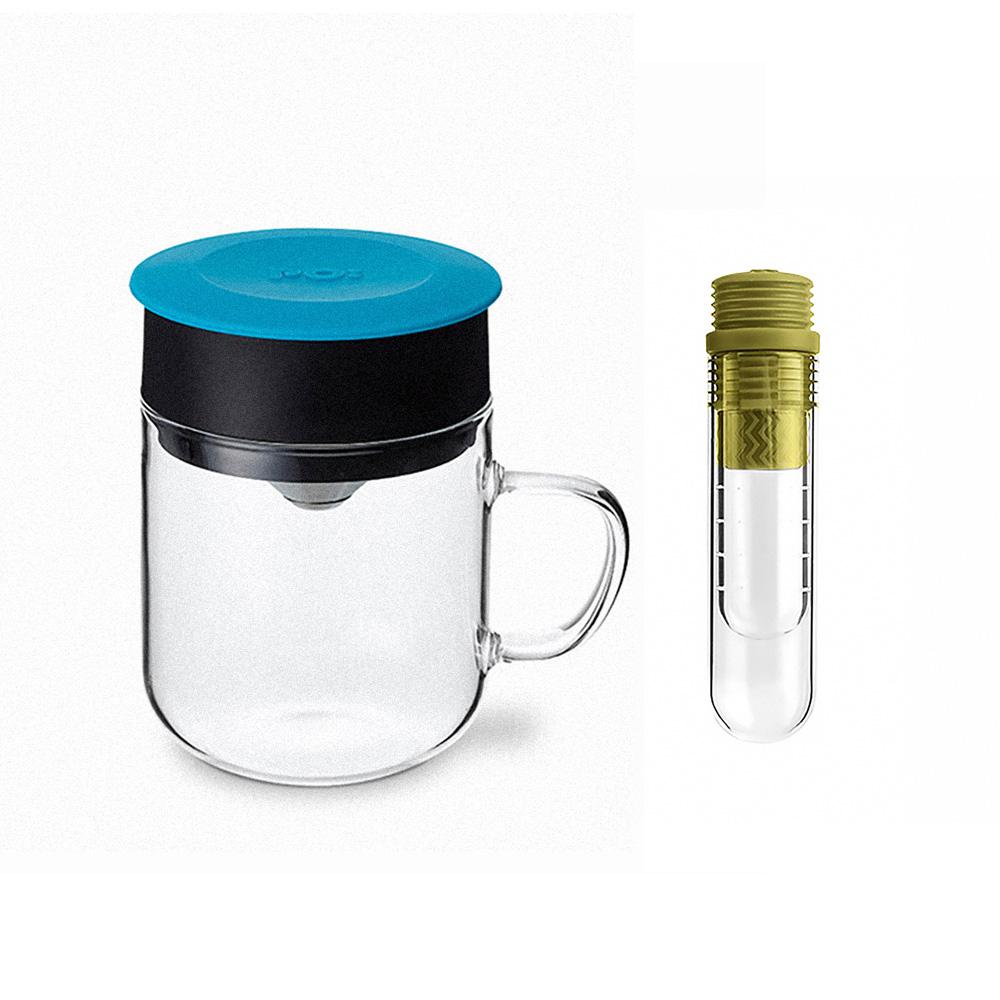 PO:Selected|丹麥咖啡泡茶兩件組 (咖啡玻璃杯240ml-藍/試管茶格-綠)