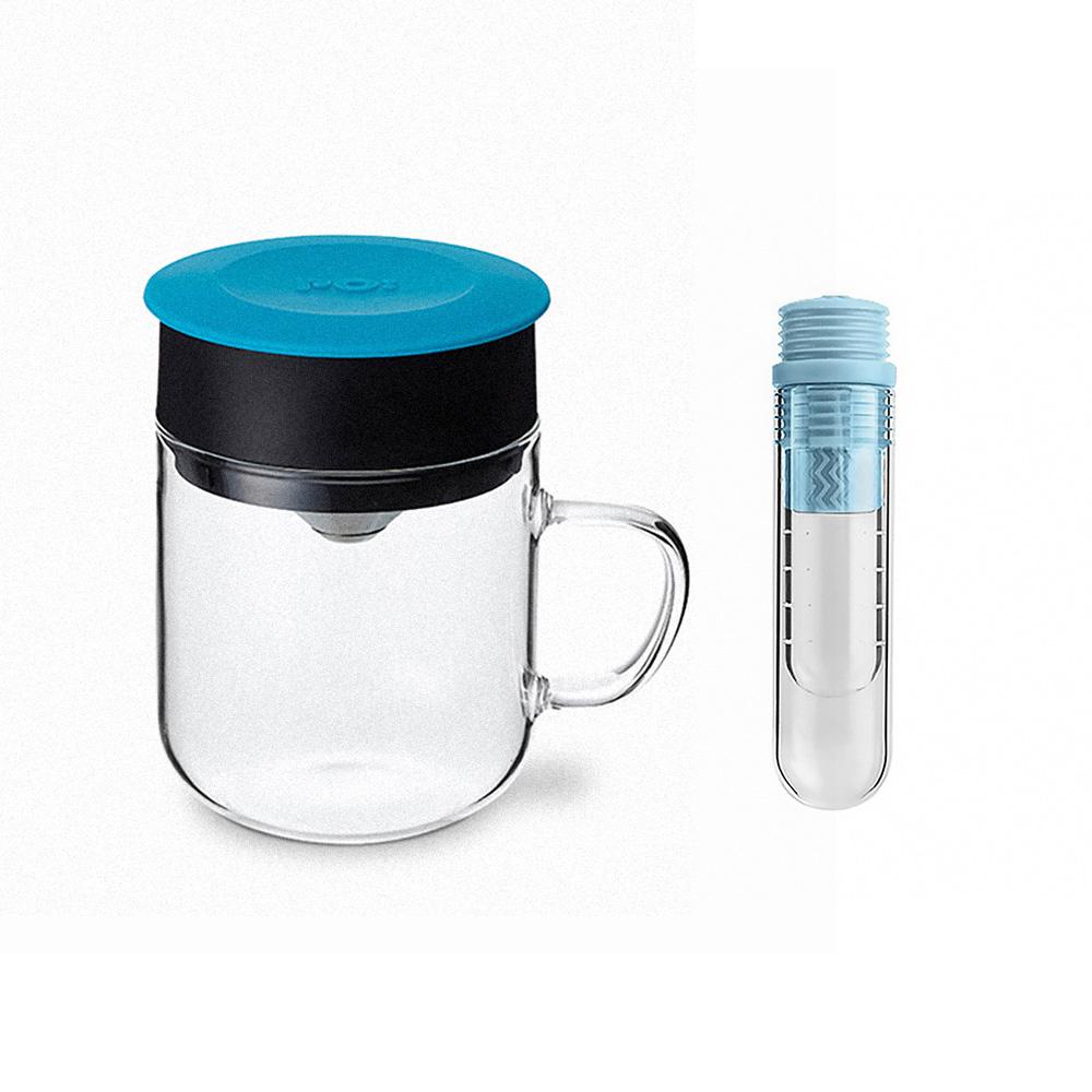 PO:Selected|丹麥咖啡泡茶兩件組 (咖啡玻璃杯240ml-藍/試管茶格-藍)