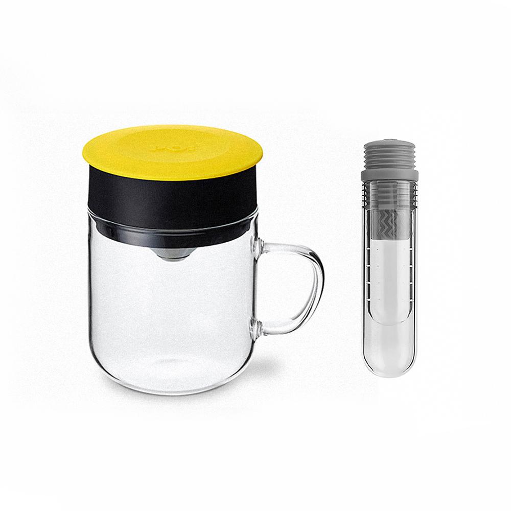 PO:Selected|丹麥咖啡泡茶兩件組 (咖啡玻璃杯240ml-黃/試管茶格-灰)
