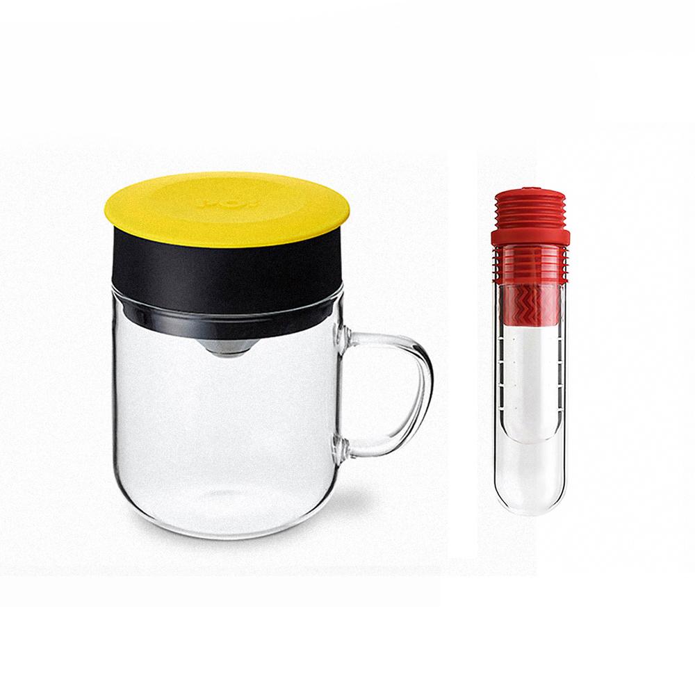 PO:Selected 丹麥咖啡泡茶兩件組 (咖啡玻璃杯240ml-黃/試管茶格-紅)