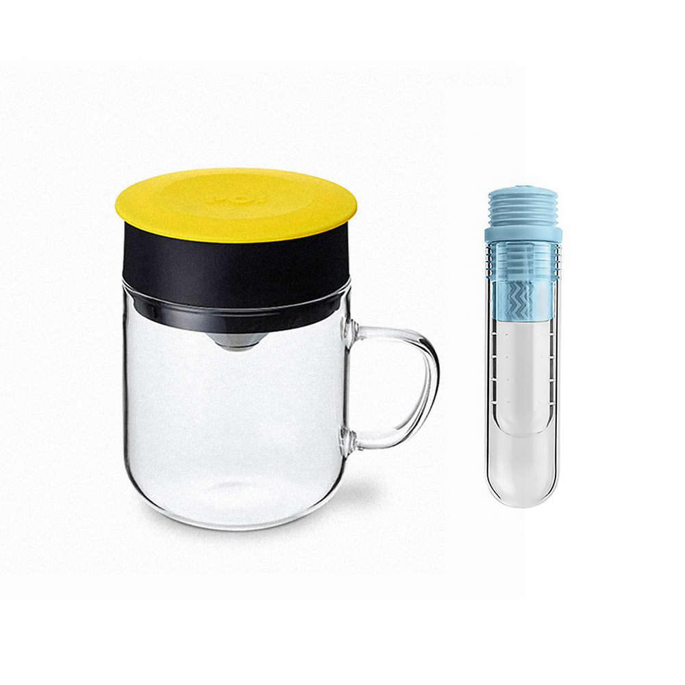 PO:Selected|丹麥咖啡泡茶兩件組 (咖啡玻璃杯240ml-黃/試管茶格-藍)