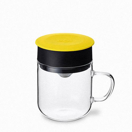 PO:Selected|丹麥DIY手沖咖啡二件組(手沖咖啡壺-黑/咖啡玻璃杯240ml-黃)