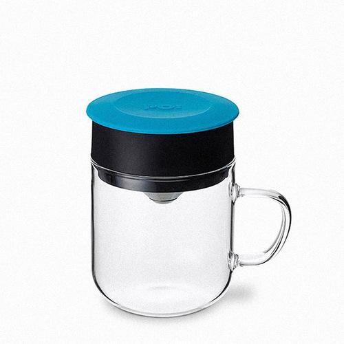 PO:Selected 丹麥DIY手沖咖啡二件組(手沖咖啡壺-黑/咖啡玻璃杯240ml-藍)