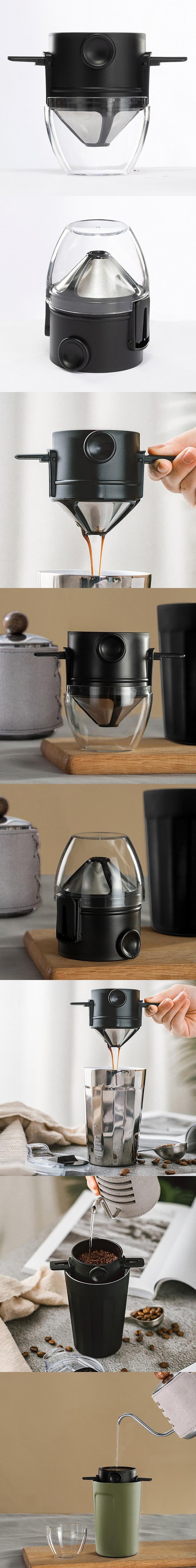 PO:Selected 丹麥棱角保溫杯咖啡三件組(棱角保溫杯-黑/咖啡磨2.0/咖啡濾網)