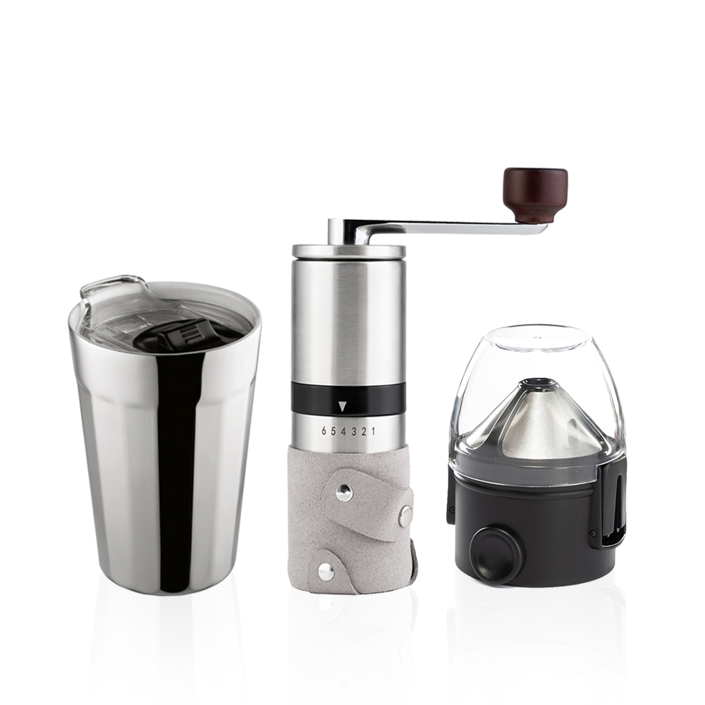 PO:Selected 丹麥棱角保溫杯咖啡三件組(棱角保溫杯-銀/咖啡磨2.0/咖啡濾網)