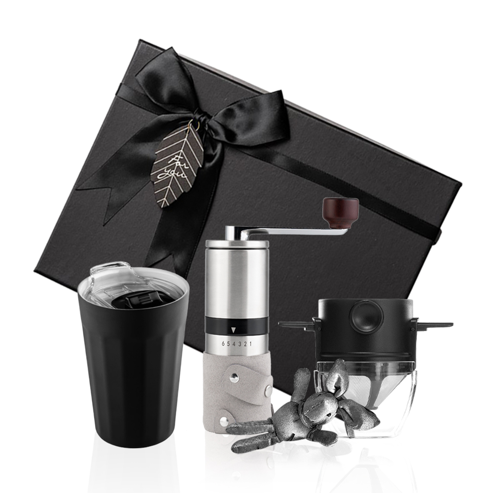PO:Selected|丹麥棱角保溫杯咖啡三件禮盒組(棱角保溫杯-黑/咖啡磨2.0/咖啡濾網)