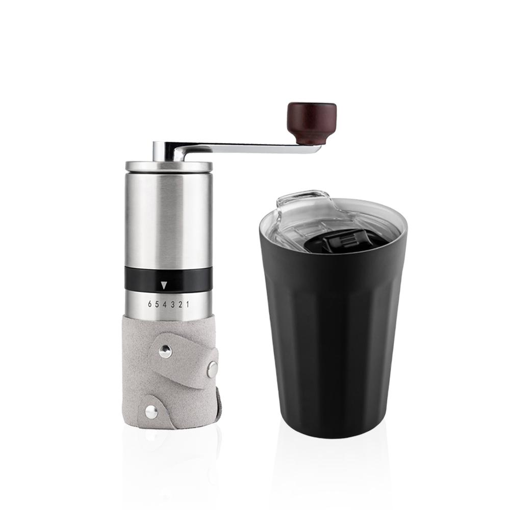 PO:Selected|丹麥棱角保溫杯咖啡二件組(棱角保溫杯-黑/咖啡磨2.0)