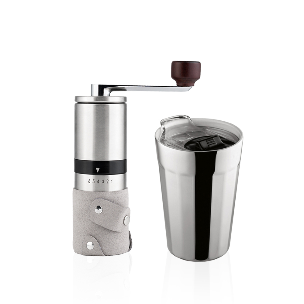 PO:Selected|丹麥棱角保溫杯咖啡二件禮盒組(棱角保溫杯-銀/咖啡磨2.0)