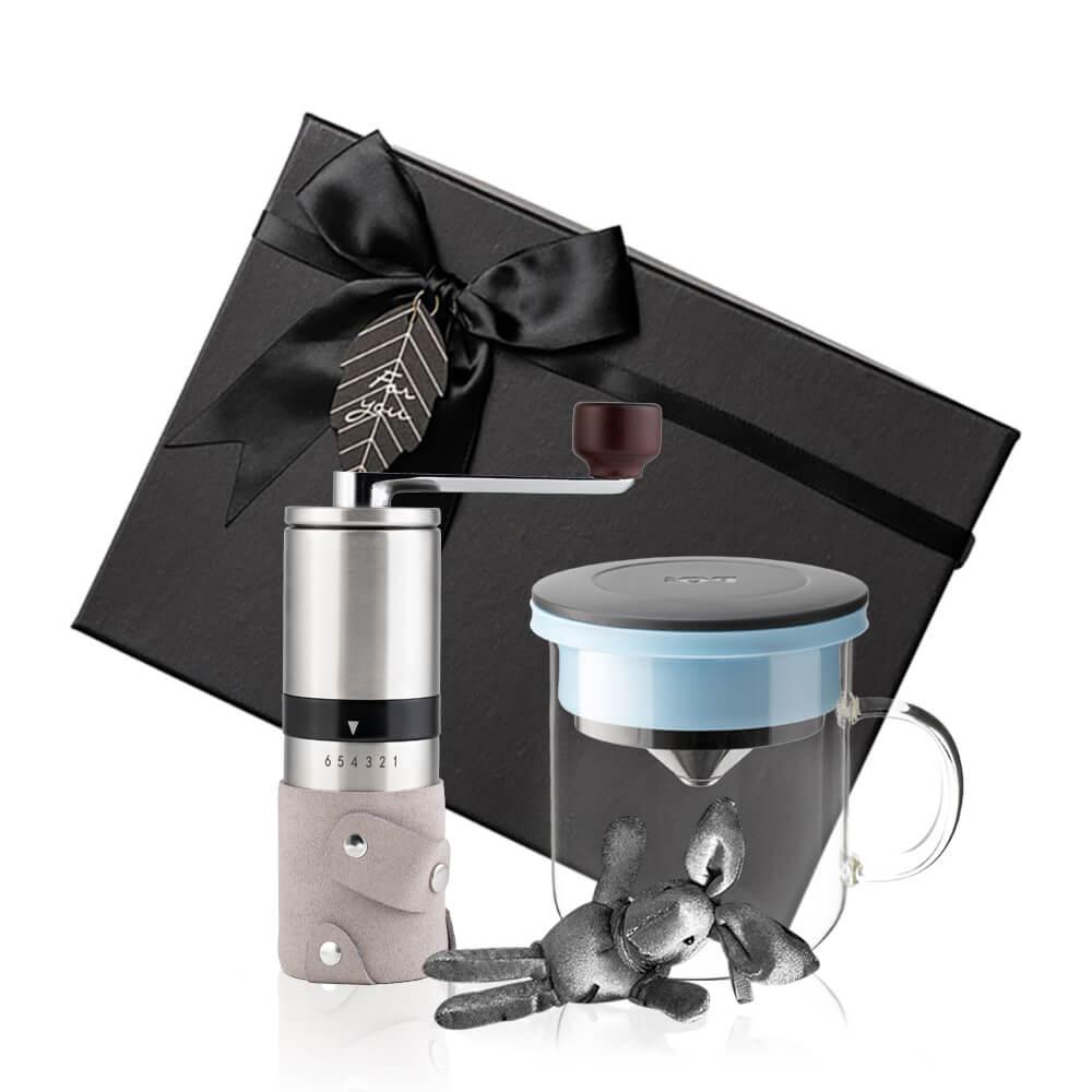 PO:Selected|丹麥手沖咖啡禮盒組(手動不鏽鋼咖啡磨2.0/咖啡玻璃杯350ml-黑藍)