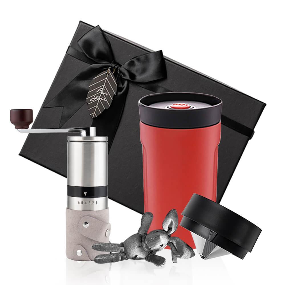PO:Selected|丹麥手沖咖啡禮盒組(手動不鏽鋼咖啡磨2.0/隨行保溫咖啡杯350ml-紅)