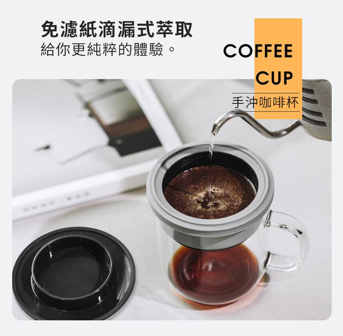 PO:Selected|丹麥手沖咖啡二件組(手動不鏽鋼咖啡磨2.0/咖啡玻璃杯240ml-藍)