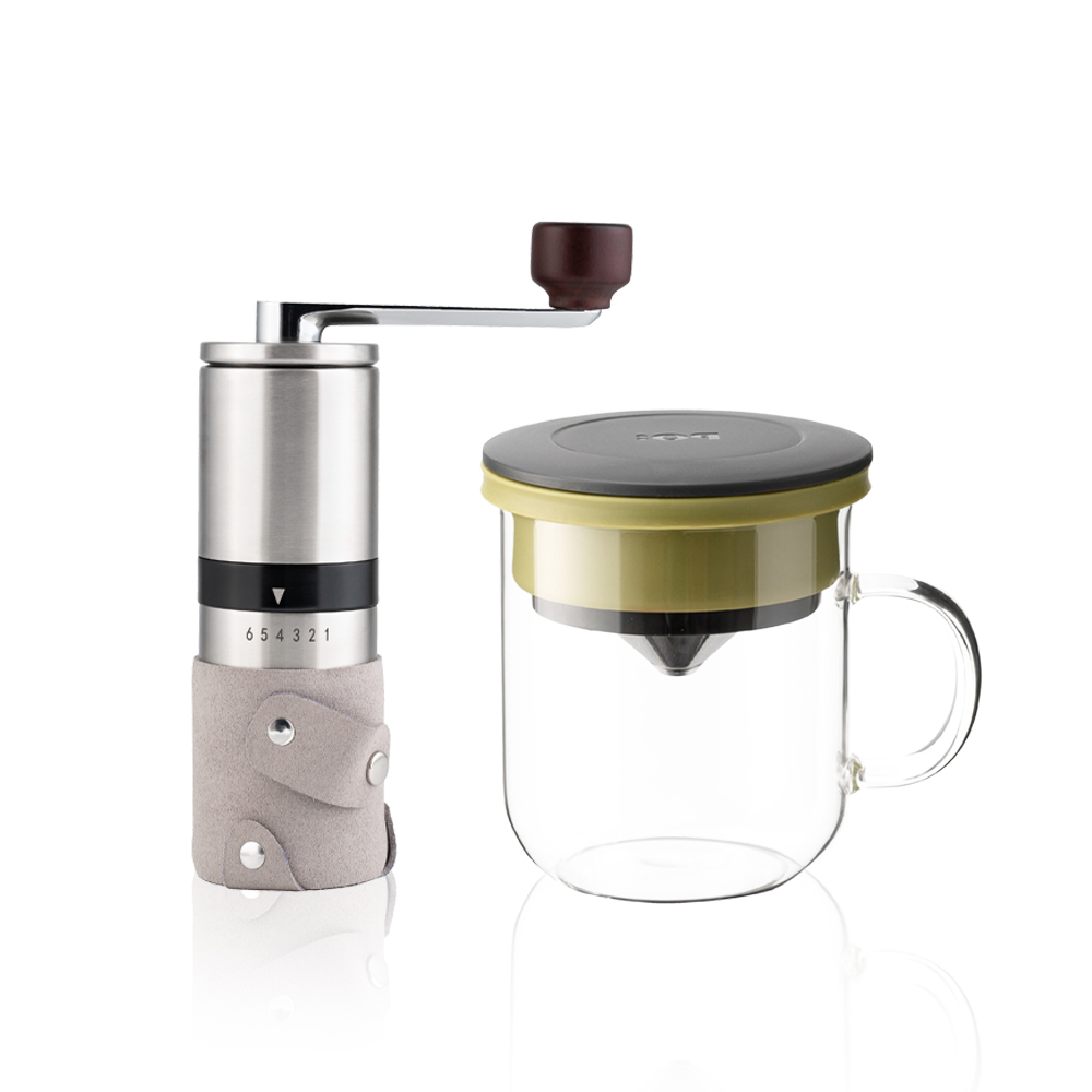PO:Selected|丹麥手沖咖啡二件組(手動不鏽鋼咖啡磨2.0/咖啡玻璃杯350ml-黑綠)