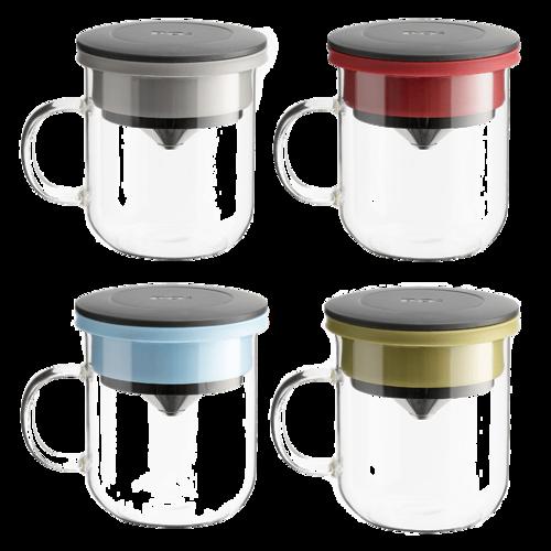 PO:Selected 丹麥手沖咖啡二件組(手動不鏽鋼咖啡磨2.0/咖啡玻璃杯350ml-黑藍)