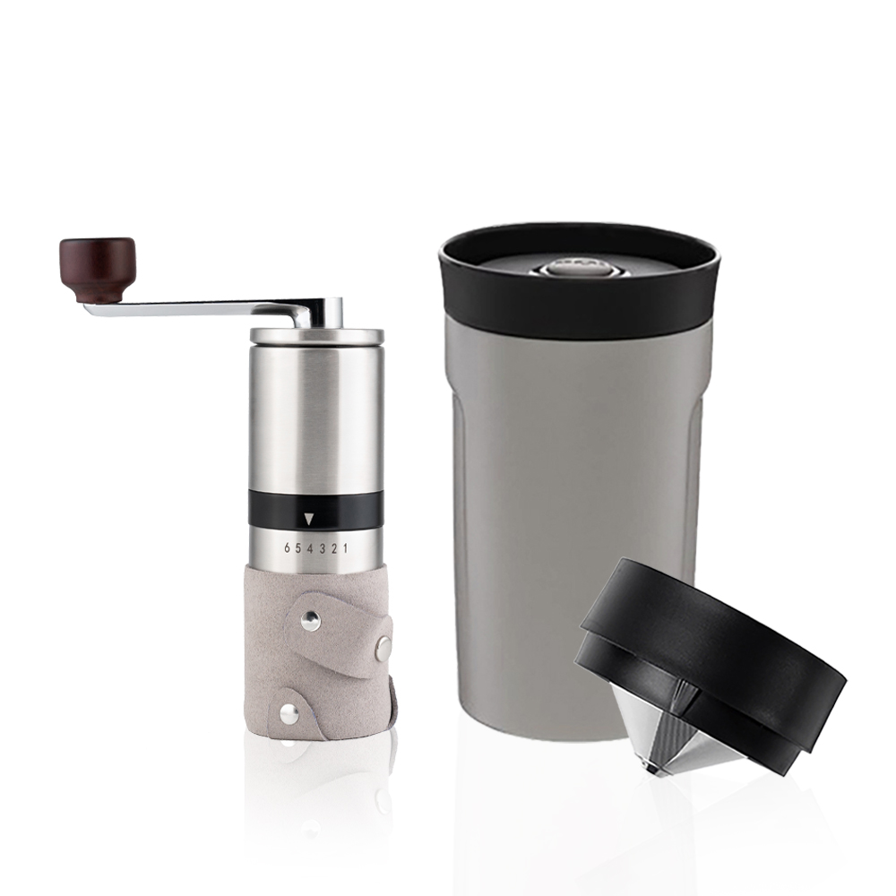 PO:Selected 丹麥手沖咖啡二件組(手動不鏽鋼咖啡磨2.0/隨行保溫咖啡杯350ml-灰)