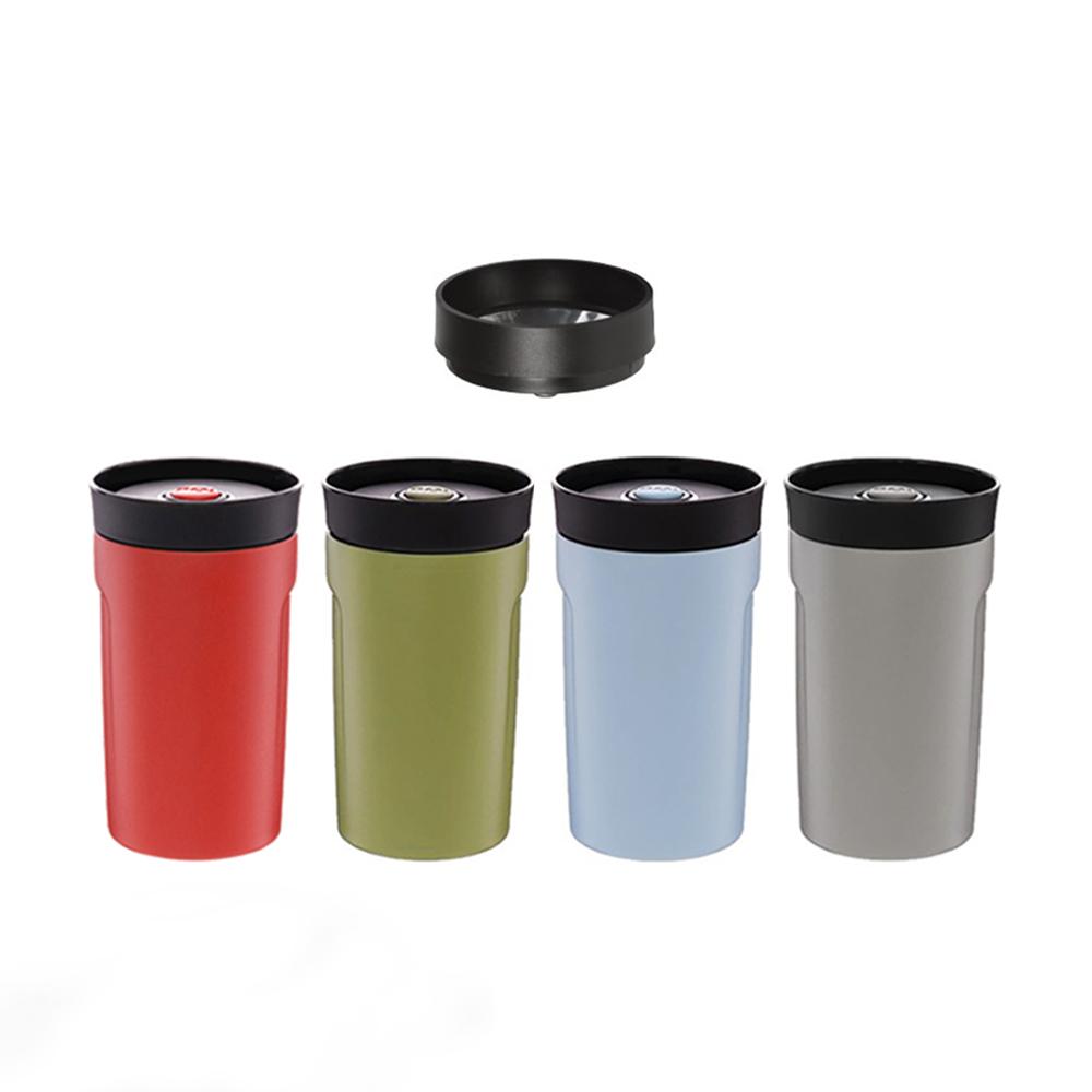 PO:Selected 丹麥手沖咖啡二件組(手動不鏽鋼咖啡磨2.0/隨行保溫咖啡杯350ml-紅)