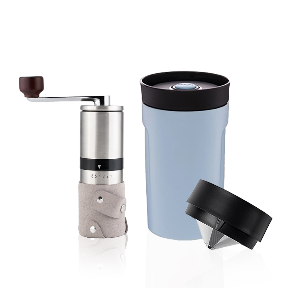 PO:Selected 丹麥手沖咖啡二件組(手動不鏽鋼咖啡磨2.0/隨行保溫咖啡杯350ml-藍)