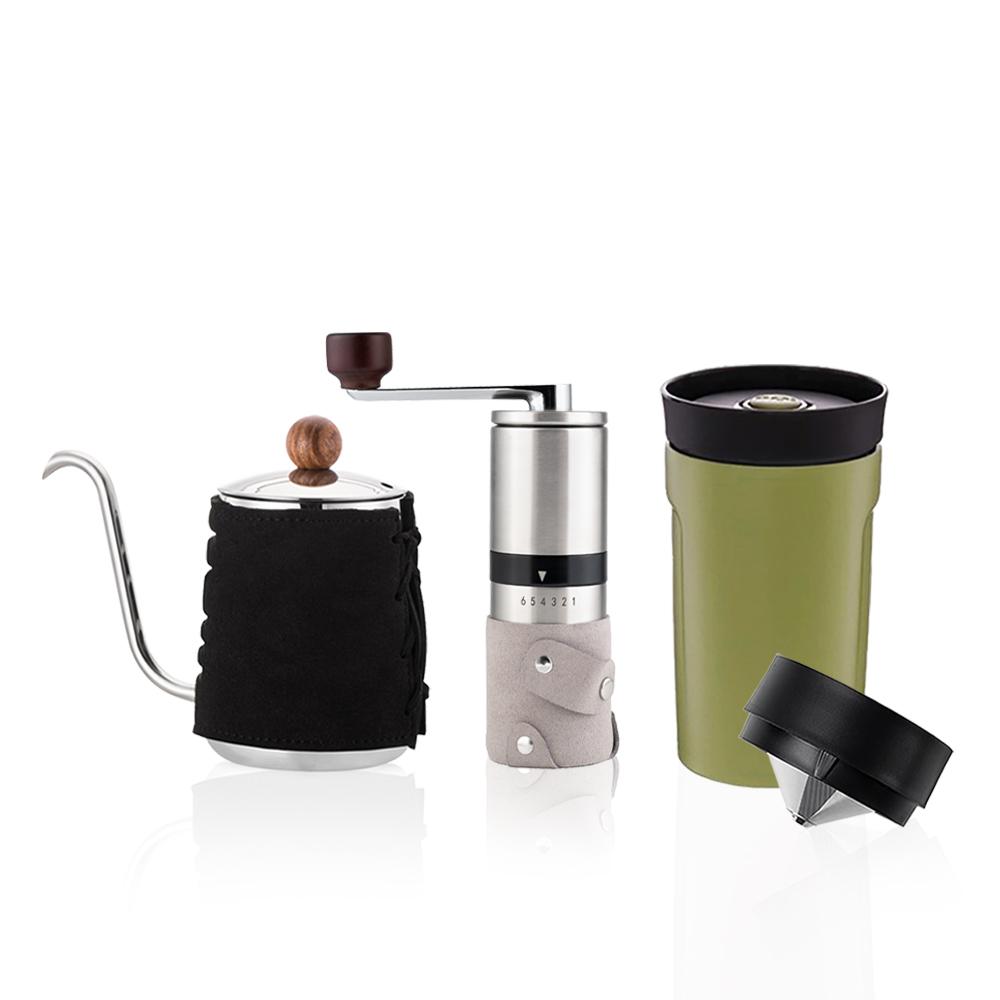 PO:Selected 丹麥手沖咖啡三件組(咖啡壺-黑/隨行保溫咖啡杯-綠/咖啡磨2.0)