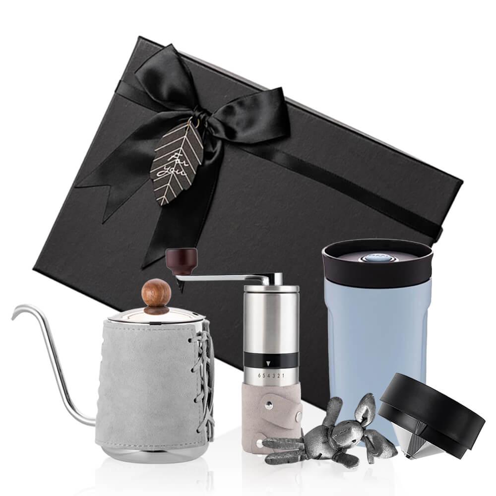 PO:Selected|丹麥手沖咖啡三件禮盒組(咖啡壺-灰/隨行保溫咖啡杯-藍/咖啡磨2.0)