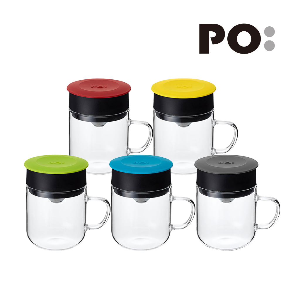 PO:Selected|丹麥手沖咖啡三件組(咖啡壺-灰/玻璃杯240ml-藍/咖啡磨2.0)