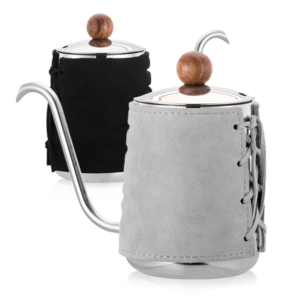 PO:Selected|丹麥手沖咖啡三件組(咖啡壺-灰/玻璃杯350ml-黑藍/咖啡磨2.0)