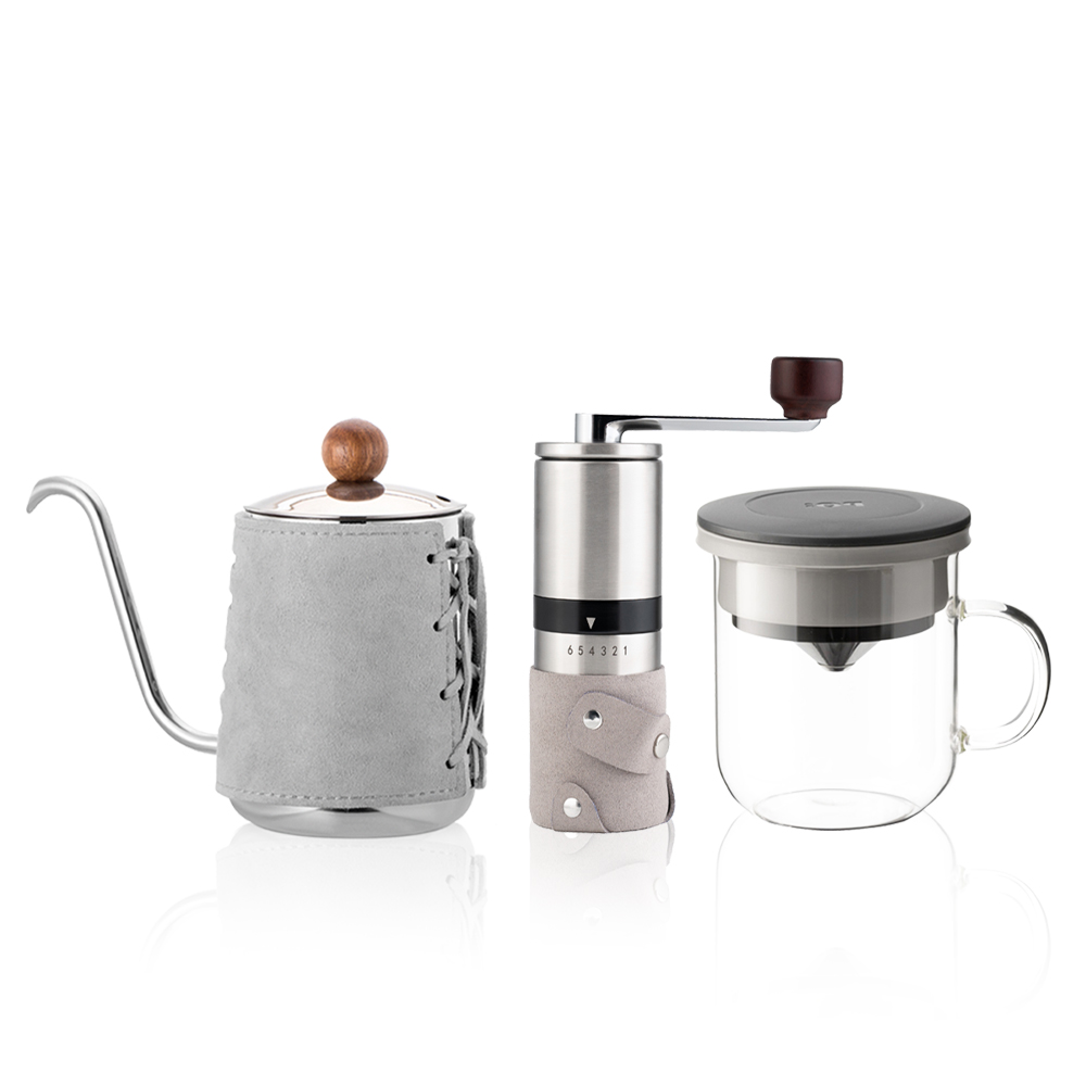 PO:Selected|丹麥手沖咖啡三件組(咖啡壺-灰/玻璃杯350ml-黑灰/咖啡磨2.0)