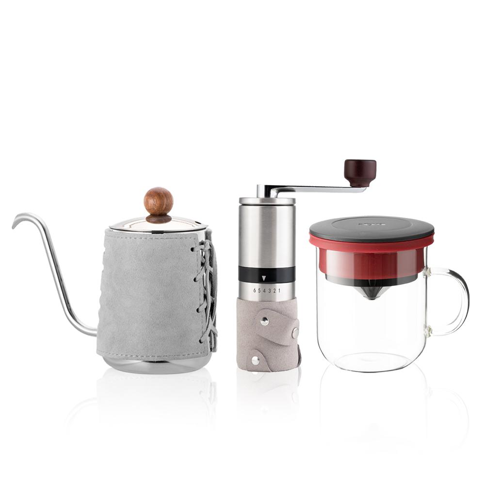 PO:Selected|丹麥手沖咖啡三件組(咖啡壺-灰/玻璃杯350ml-黑紅/咖啡磨2.0)