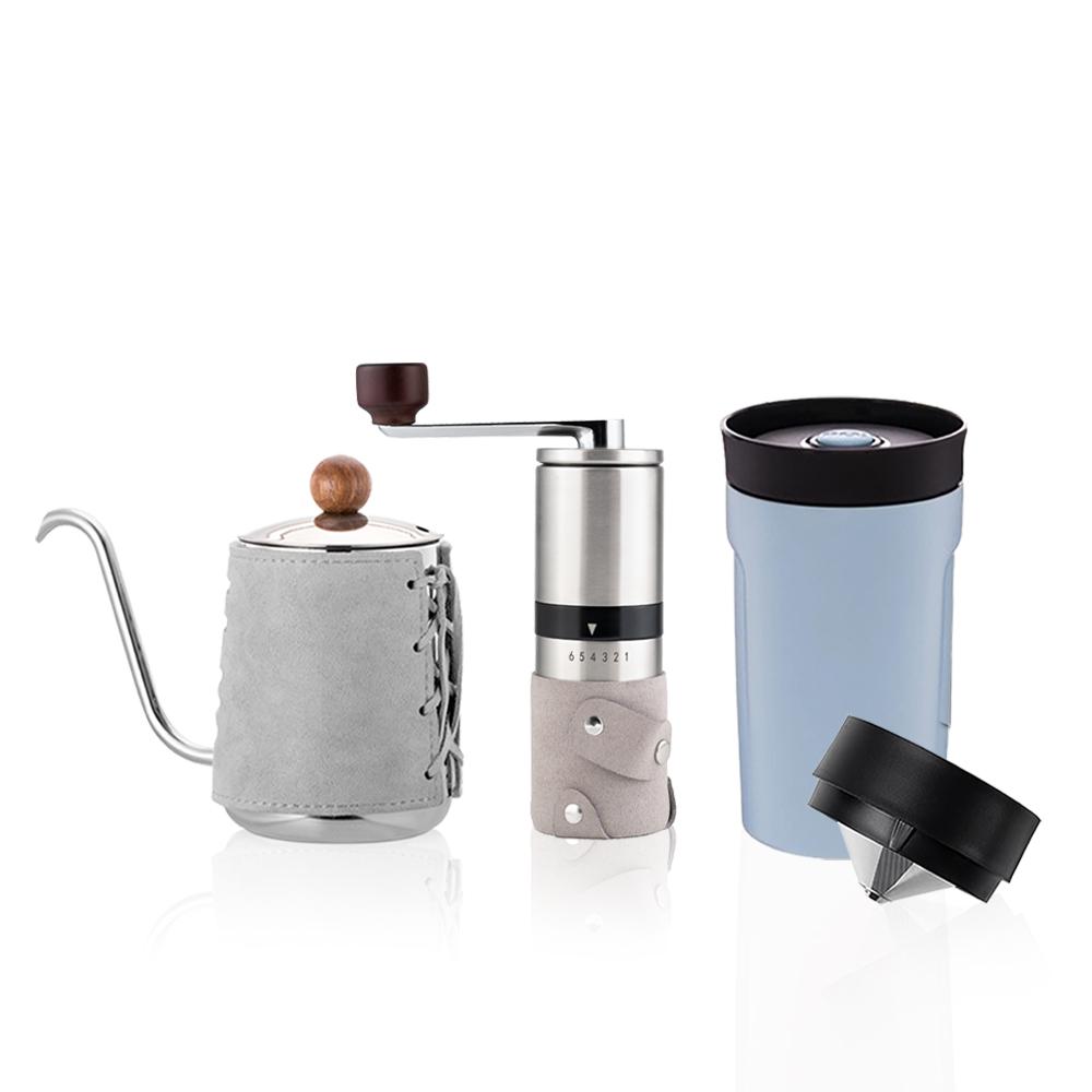PO:Selected|丹麥手沖咖啡三件組(咖啡壺-灰/隨行保溫咖啡杯-藍/咖啡磨2.0)