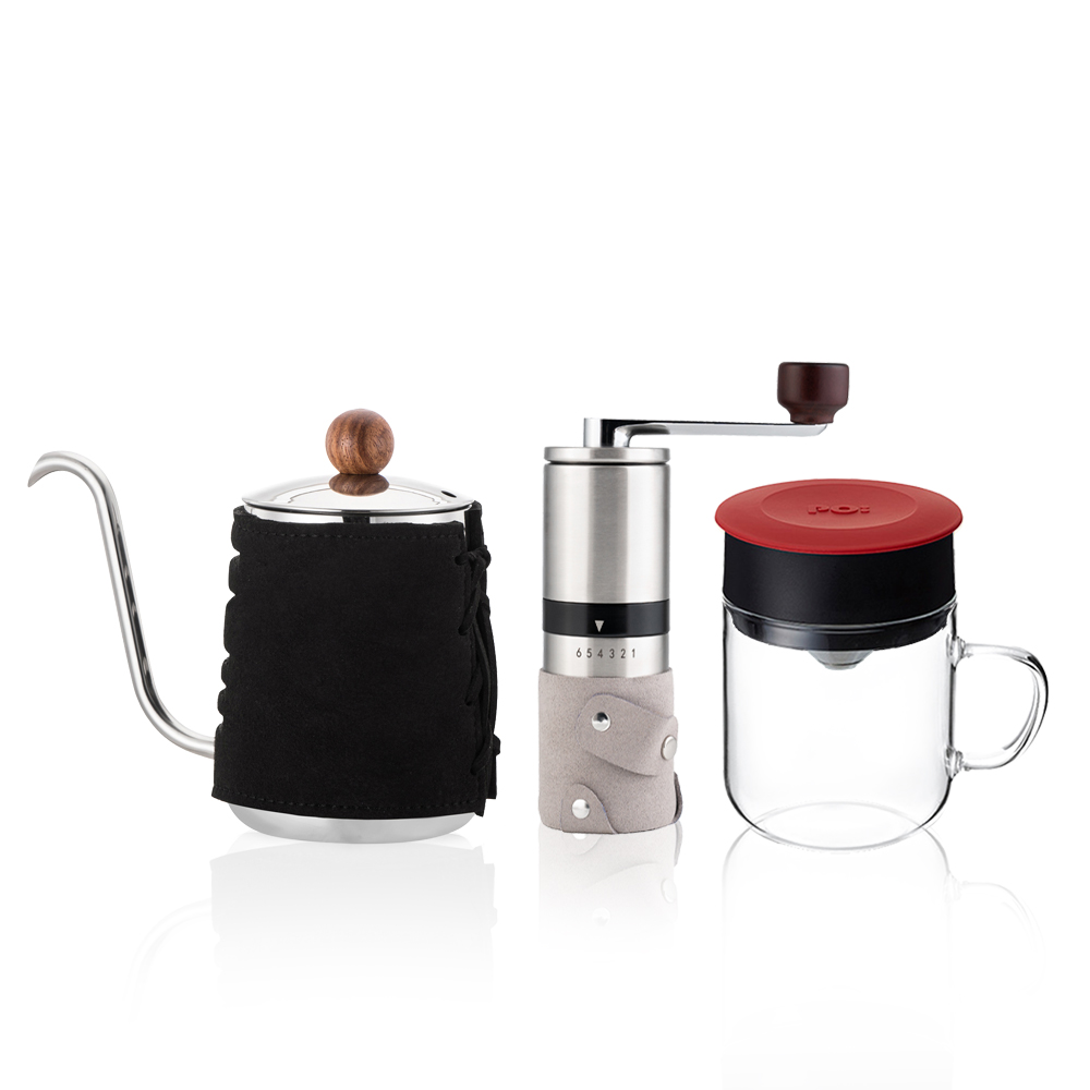 PO:Selected 丹麥手沖咖啡三件組(咖啡壺-黑/玻璃杯240ml-紅/咖啡磨2.0)
