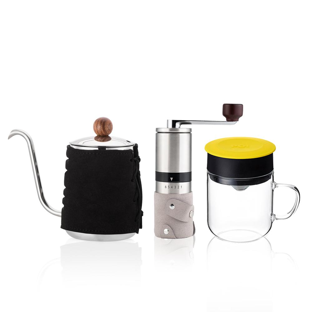 PO:Selected|丹麥手沖咖啡三件組(咖啡壺-黑/玻璃杯240ml-黃/咖啡磨2.0)