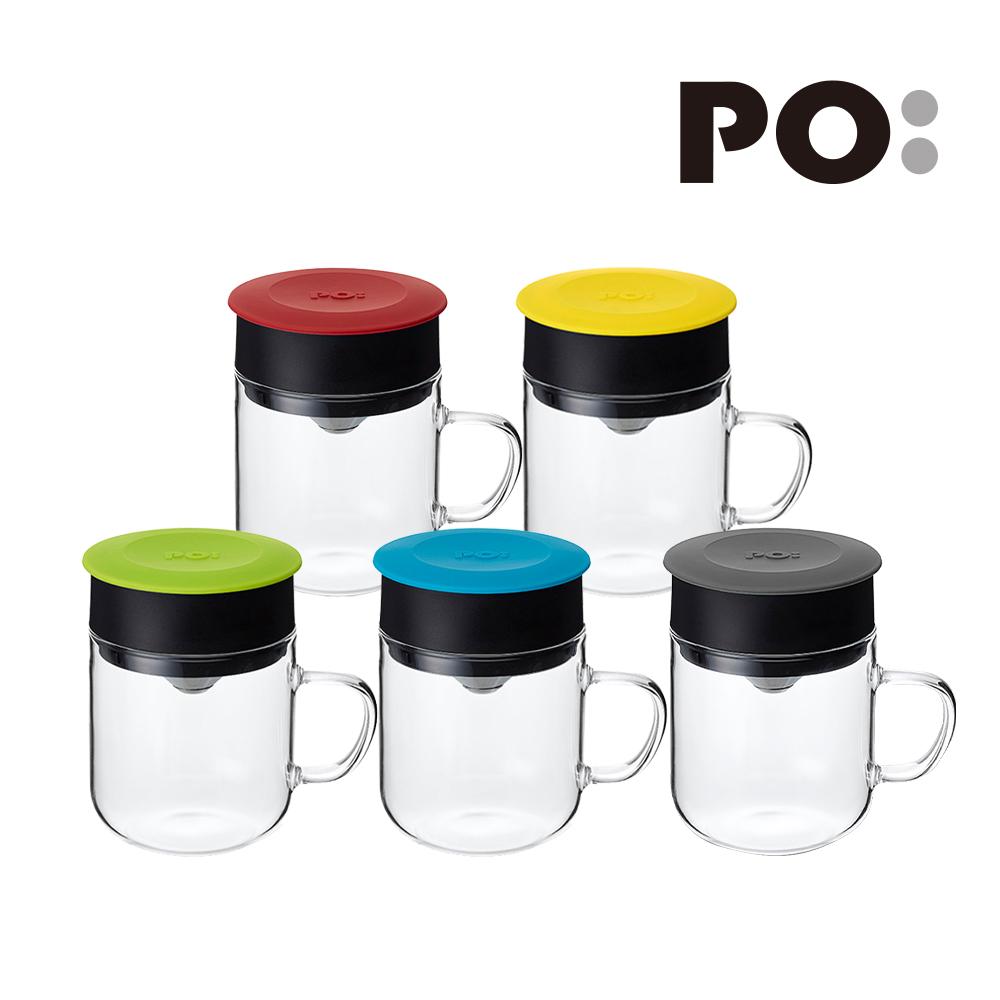 PO:Selected 丹麥手沖咖啡三件組(咖啡壺-黑/玻璃杯240ml-藍/咖啡磨2.0)