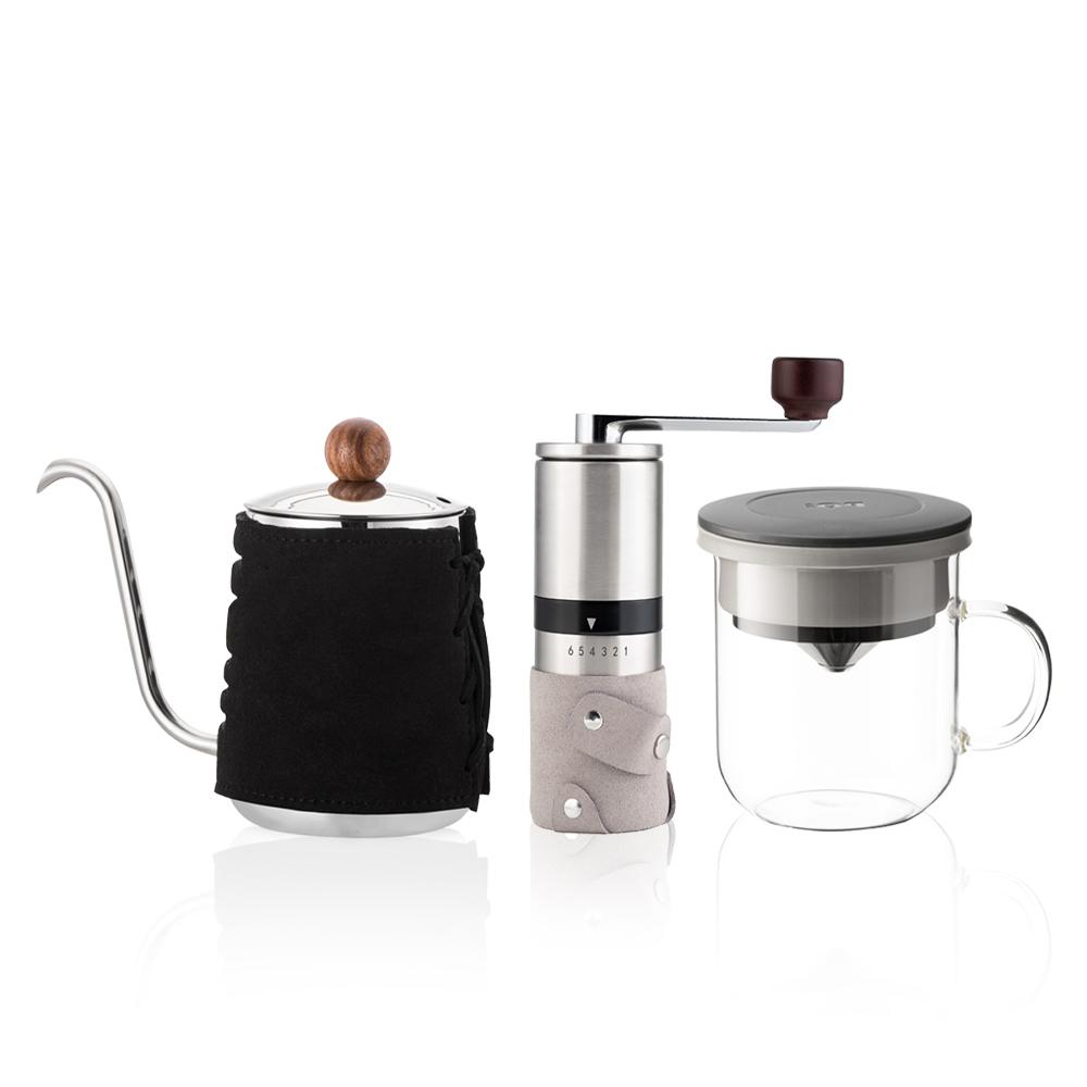 PO:Selected 丹麥手沖咖啡三件組(咖啡壺-黑/玻璃杯350ml-黑灰/咖啡磨2.0)