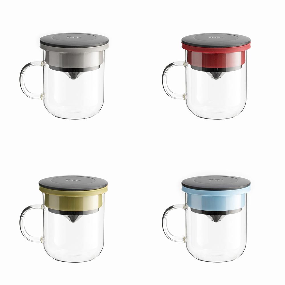 PO:Selected|丹麥手沖咖啡三件組(咖啡壺-黑/玻璃杯350ml-黑藍/咖啡磨2.0)