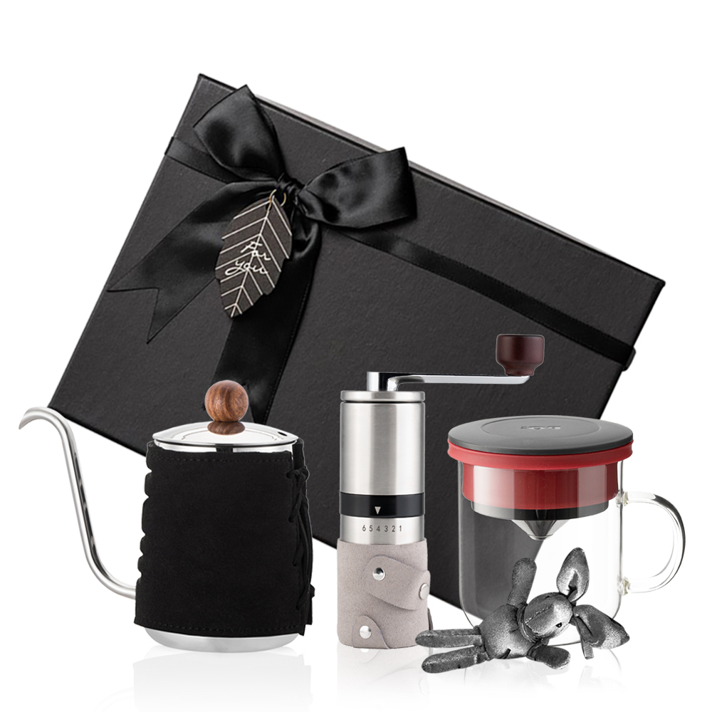 PO:Selected|丹麥手沖咖啡三件禮盒組(咖啡壺-黑/玻璃杯350ml-黑紅/咖啡磨2.0)