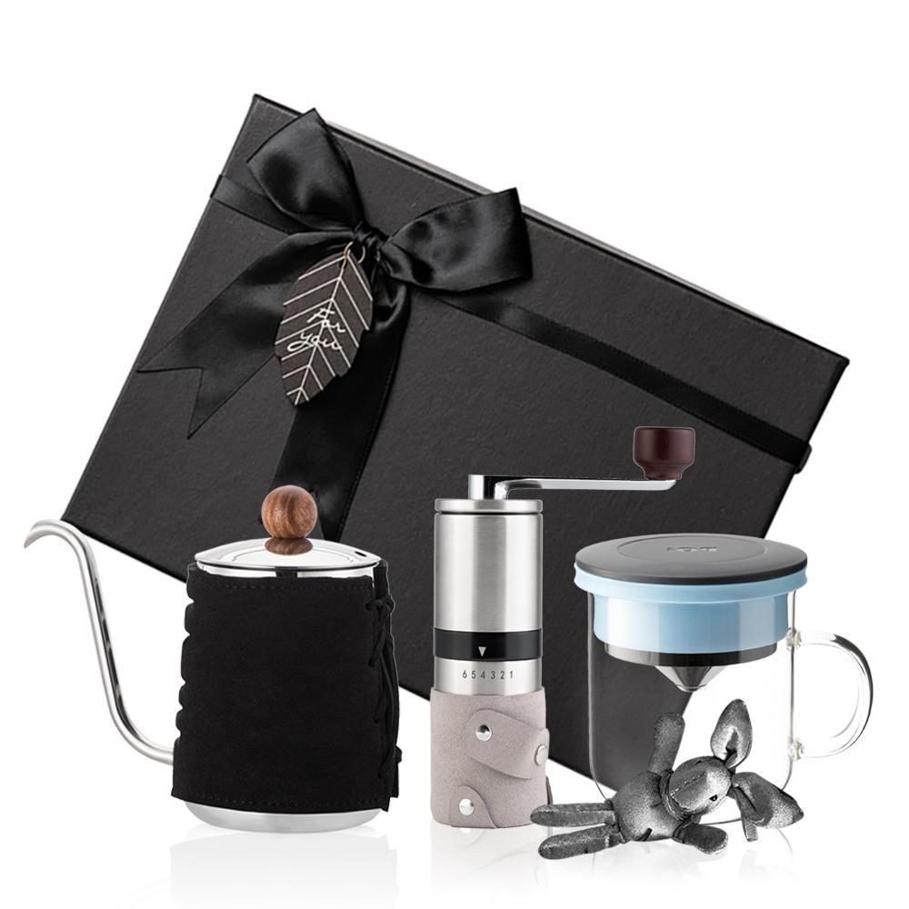 PO:Selected|丹麥手沖咖啡三件禮盒組(咖啡壺-黑/玻璃杯350ml-黑藍/咖啡磨2.0)