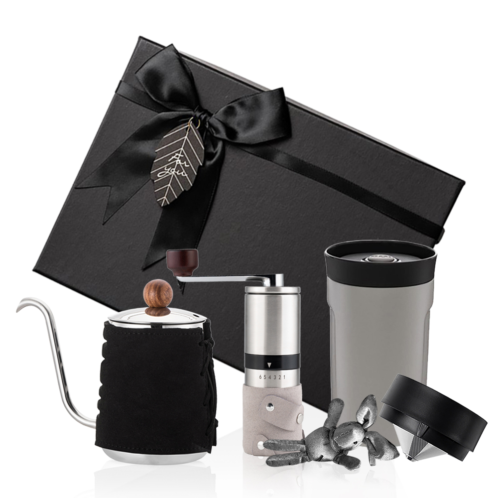 PO:Selected 丹麥手沖咖啡三件禮盒組(咖啡壺-黑/隨行保溫咖啡杯-灰/咖啡磨2.0)
