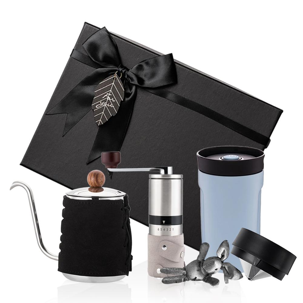 PO:Selected 丹麥手沖咖啡三件禮盒組(咖啡壺-黑/隨行保溫咖啡杯-藍/咖啡磨2.0)