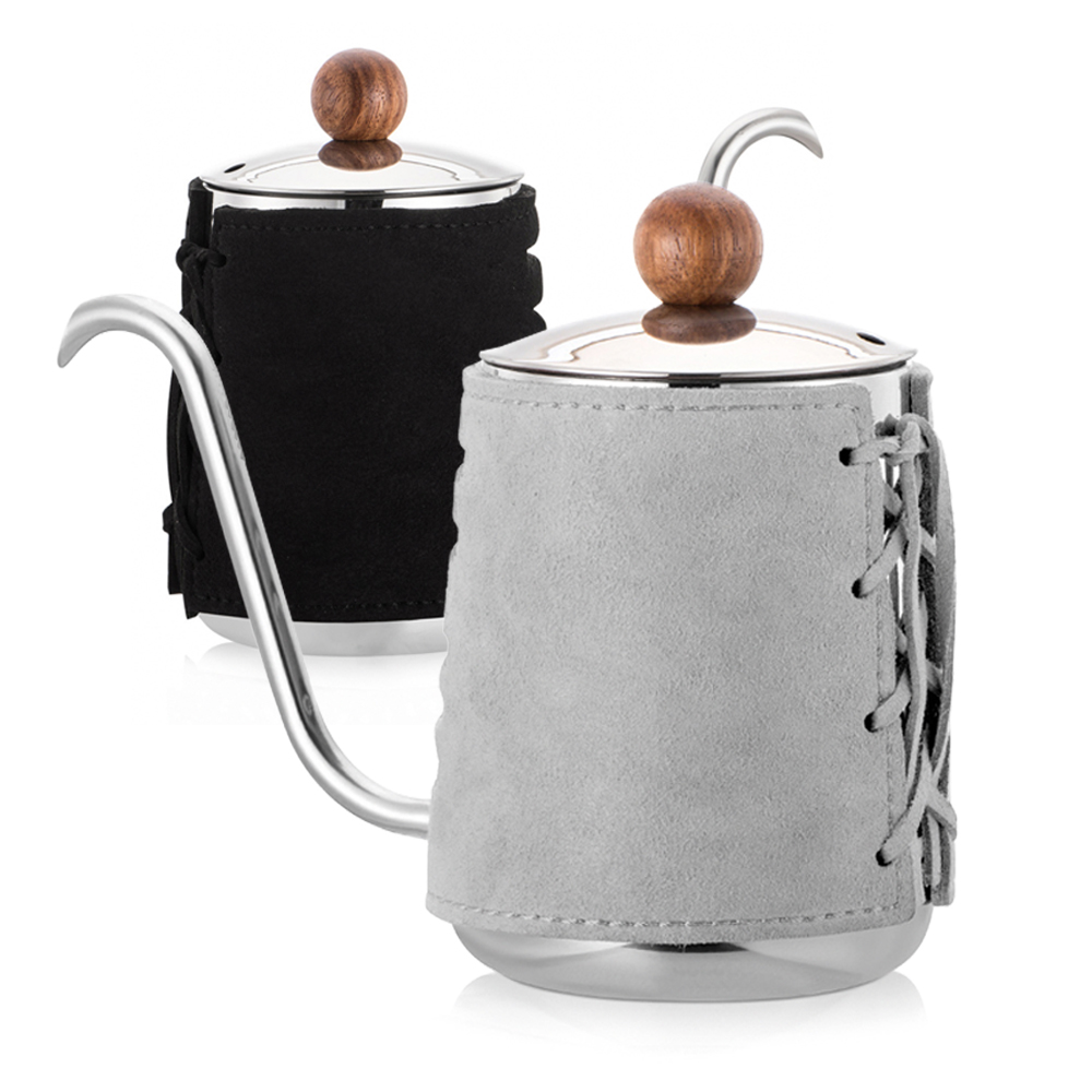 PO:Selected|丹麥手沖咖啡三件組(咖啡壺-黑/玻璃杯240ml-灰/咖啡磨2.0)