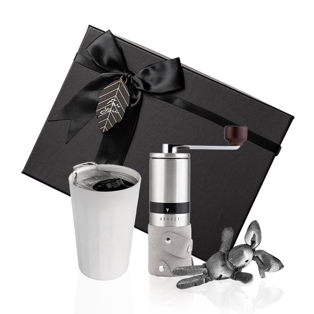 PO:Selected 丹麥棱角保溫杯咖啡二件禮盒組(棱角保溫杯-白/咖啡磨2.0)