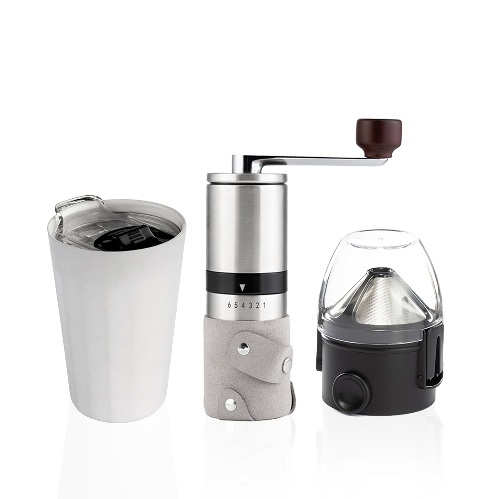PO:Selected|丹麥棱角保溫杯咖啡三件組(棱角保溫杯-白/咖啡磨2.0/咖啡濾網)