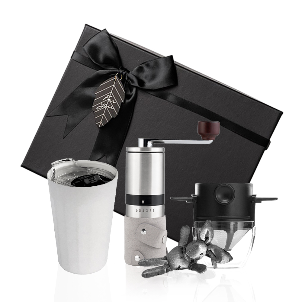 PO:Selected|丹麥棱角保溫杯咖啡三件禮盒組(棱角保溫杯-白/咖啡磨2.0/咖啡濾網)
