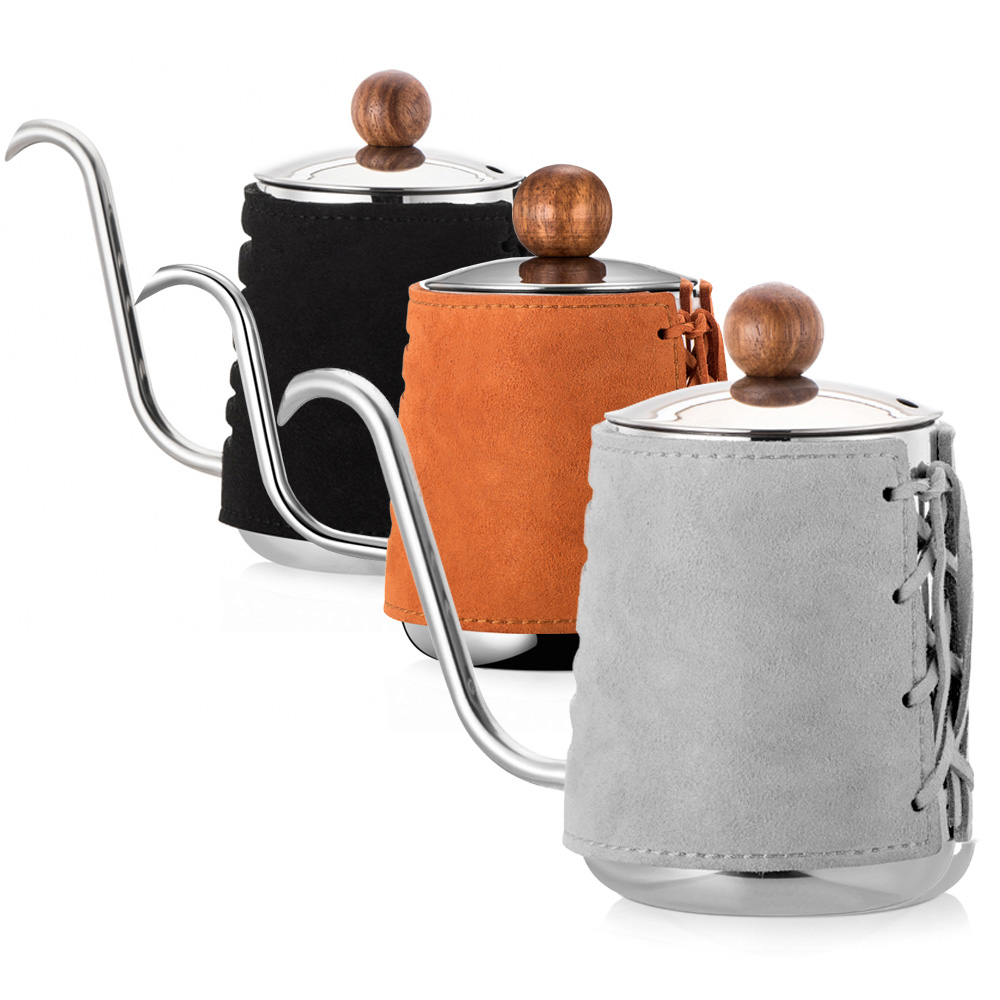PO:Selected|丹麥手沖咖啡三件組(咖啡壺-駝/玻璃杯240ml-灰/咖啡磨2.0)