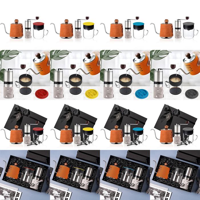 (複製)PO:Selected|丹麥手沖咖啡三件禮盒組(咖啡壺-駝/玻璃杯240ml-灰/咖啡磨2.0)