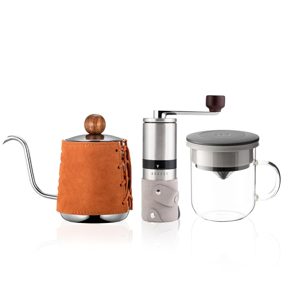 PO:Selected|丹麥手沖咖啡三件組(咖啡壺-駝/玻璃杯350ml-黑灰/咖啡磨2.0)