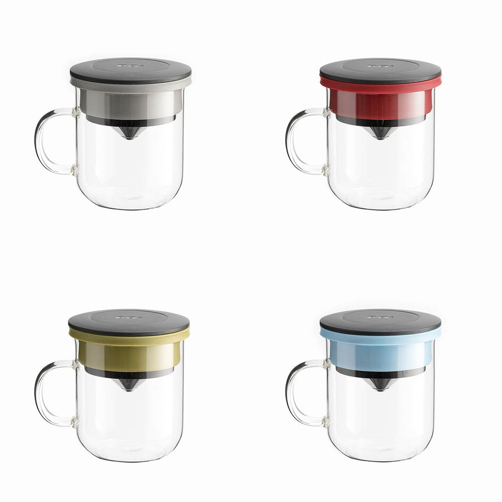 PO:Selected|丹麥手沖咖啡三件組(咖啡壺-駝/玻璃杯350ml-黑藍/咖啡磨2.0)
