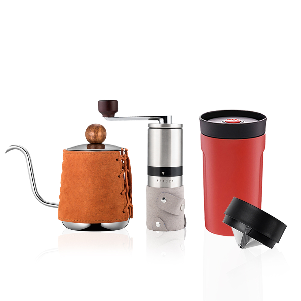 PO:Selected|丹麥手沖咖啡三件組(咖啡壺-駝/隨行保溫咖啡杯-紅/咖啡磨2.0)