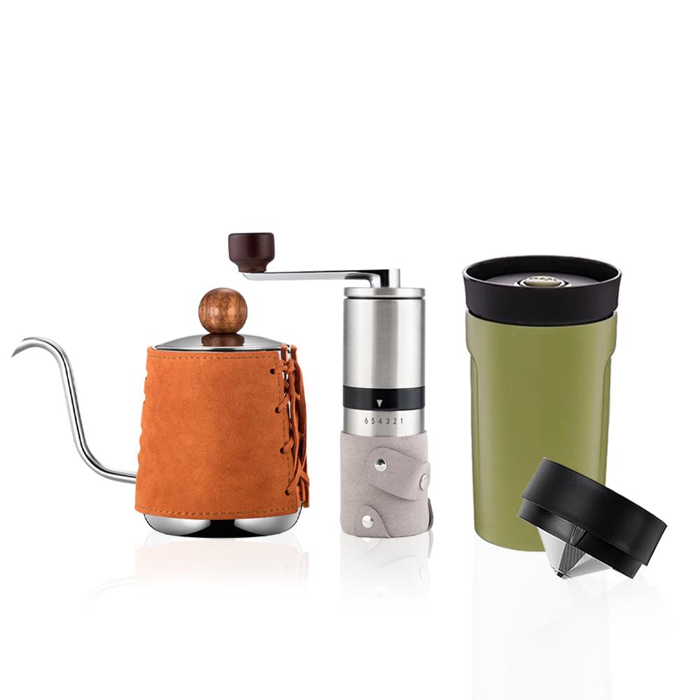 PO:Selected|丹麥手沖咖啡三件組(咖啡壺-駝/隨行保溫咖啡杯-綠/咖啡磨2.0)