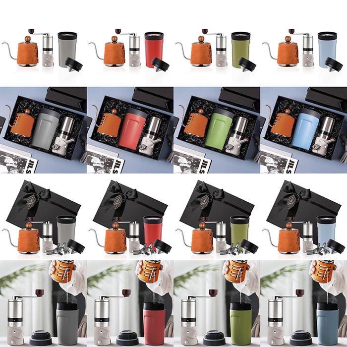 PO:Selected 丹麥手沖咖啡三件禮盒組(咖啡壺-駝/隨行保溫咖啡杯-紅/咖啡磨2.0)