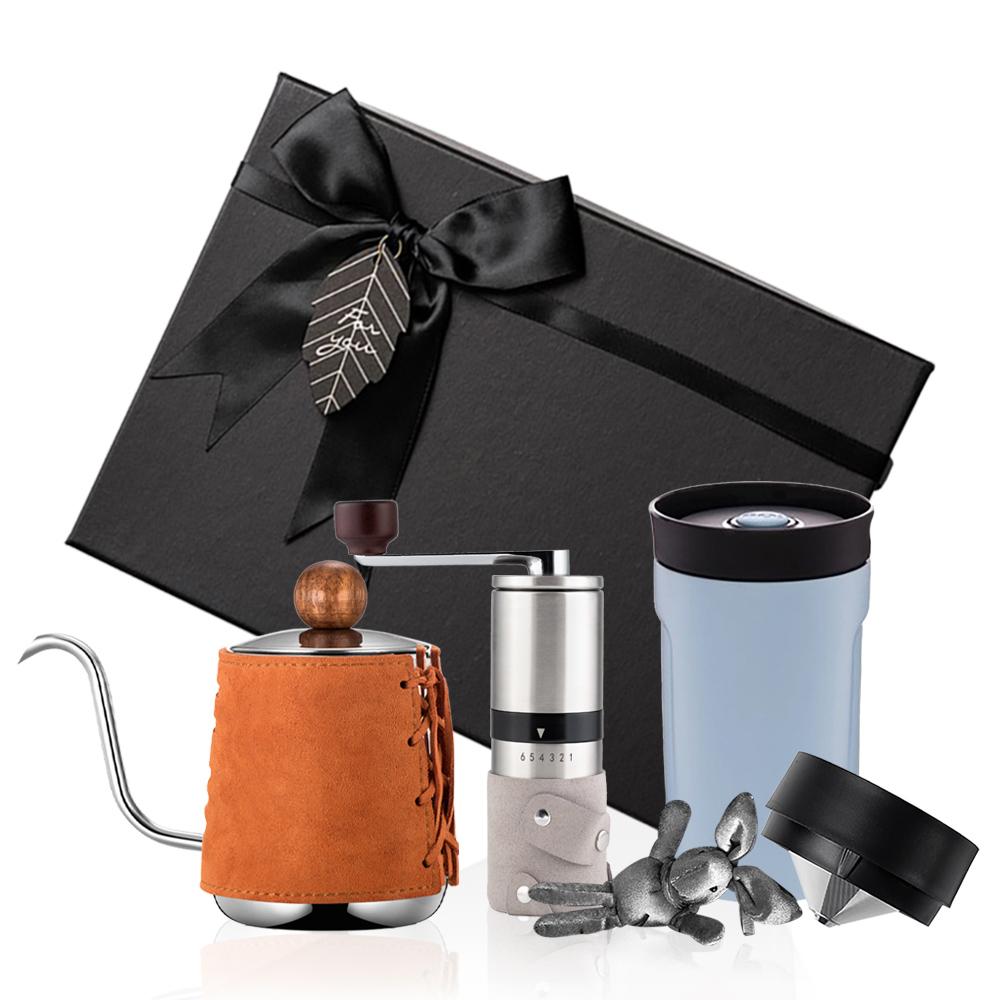 PO:Selected|丹麥手沖咖啡三件禮盒組(咖啡壺-駝/隨行保溫咖啡杯-藍/咖啡磨2.0)