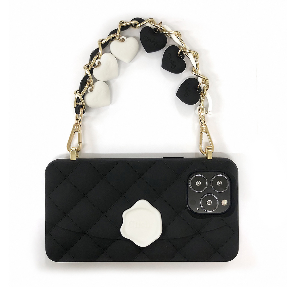 Candies|黑白小香風愛心晚宴包(黑) - iPhone 13 Pro Max