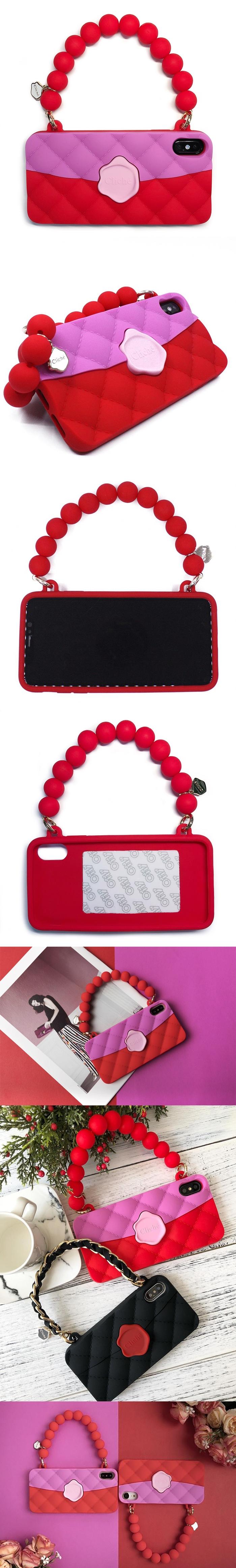 (複製)Candies|經典雙色珠鍊晚宴包(紅)-IPhone X/XS